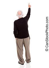 baksidaen beskådar, av, gammal man, pekande vid, avskrift...