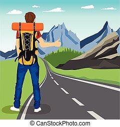 baksidaen beskådar, av, ung man, gör, lifta, på, väg, in, mountains