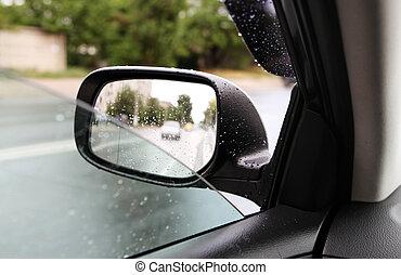 bakspejl, ind, regnfuld vejr