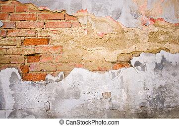 baksteen, grunge, textuur
