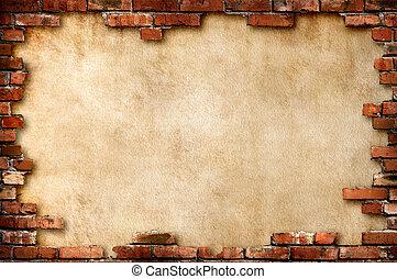 baksteen muur, grungy, frame