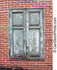 baksteen muur, houten, bruine , venster