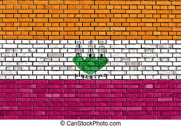 baksteen muur, marino, san, vlag, geverfde, oud