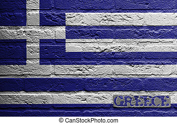 baksteen muur, met, een, schilderij, van, een, vlag