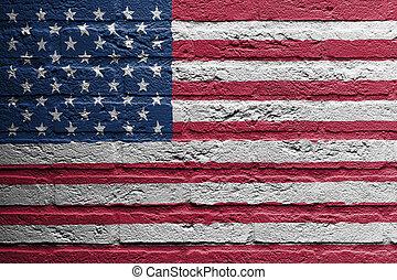 baksteen muur, met, een, schilderij, van, een, vlag, usa