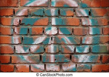 baksteen muur, met, een, symbool, graffiti, voor, design.