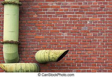 baksteen muur, met, pijpen, achtergrond