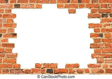 baksteen muur, van, een, oud, kasteel