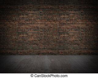 baksteen, oud, muur, betonnen vloeren