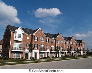 baksteen, rijtjeshuizen, met, baai windows