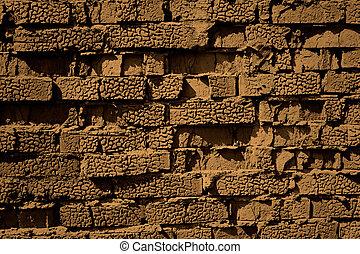 baksteen, sepia, muur