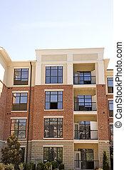 baksteen, stucco, flats