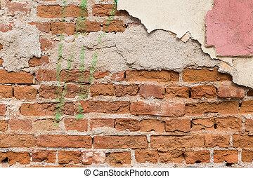 baksteen, textuur, muur, rood, beschadigd