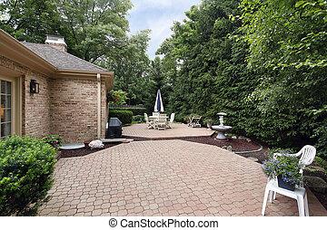 baksteen, tuin, terras, rots