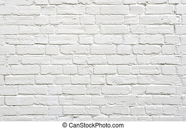 baksteen, witte muur