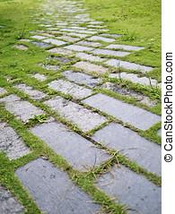 bakstenen, footpath
