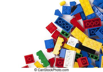 bakstenen, kleurrijke, lego