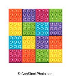 bakstenen, plastische speelbal, pictogram, stukken