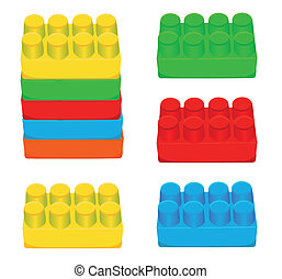bakstenen, speelbal, kinderen, plastic