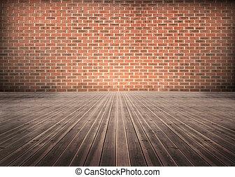 bakstenen, wal, kamer, floorboards
