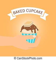 bakt, gele, cadeau, cupcake