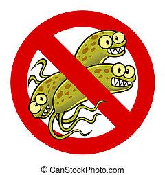 bakteria, anti, znak