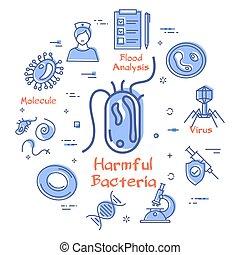 bakterie, fodra, vektor, virus, skadlig, ikon, -, begrepp