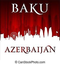 Baku Azerbaijan city skyline silhouette red background