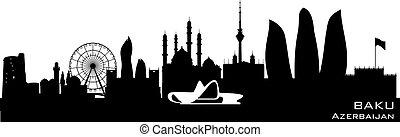 Baku Azerbaijan city skyline vector silhouette - Baku...