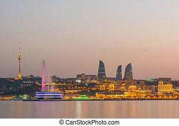 baku, azerbajdzsán, napnyugta, éjszaka, közben, kilátás