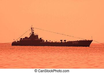 baku, -, azerbajdzsán, napnyugta, közben, military hajó