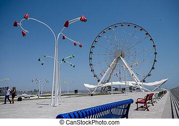 Baku ferris wheel (Baky eye) at the seafront park.