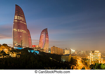 Baku - February 3 , 2015: Flame Towers on February 3 in...