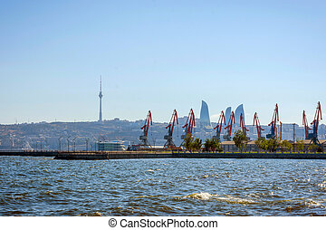 Baku flame towers and oil pumps, Azerbaijan