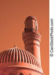baku, mecset, -, azerbajdzsán, napnyugta, közben, minaret