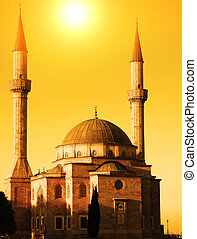 baku, meczet, dwa, azerbejdżan, zachód słońca, minarety