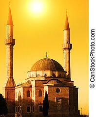 baku, moschea, due, azerbaijan, tramonto, minareti