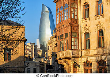 Baku Old town, Azerbaijan, with historical and modern buildings