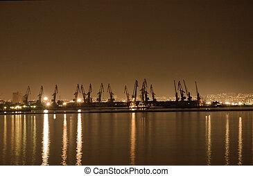 baku, port maritime, nuit