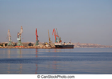 Port of Baku at the summer day