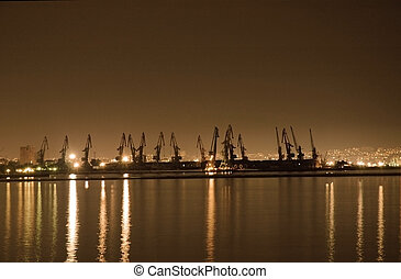 Baku seaport at night