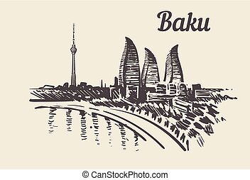 Baku skyline hand drawn sketch vector illustration.