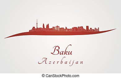 Baku skyline in red and gray background in editable vector file