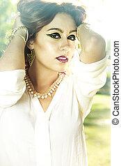 bakvis, beauty, outdoor., model, romantische, geklede, mooi