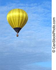 balão ar quente, azul, céu
