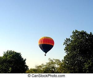 balão ar quente, levando, de