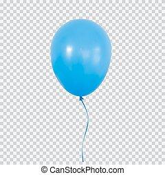 balão azul, isolado, experiência., hélio, transparente