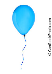 balão azul, voando, isolado, ar, branca, feliz