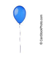 balão azul, voando, isolado, branca