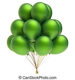 balão hélio, grupo, coloridos, verde, partido, balões, decoração